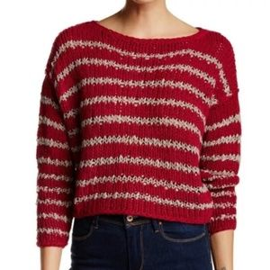 Free People Over and Easy Stripe Sweater - M